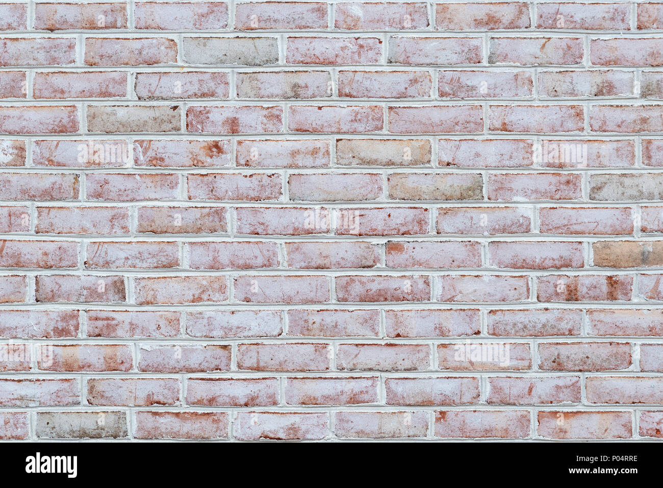 Whitewashed brick wall texture or background - Stock Image