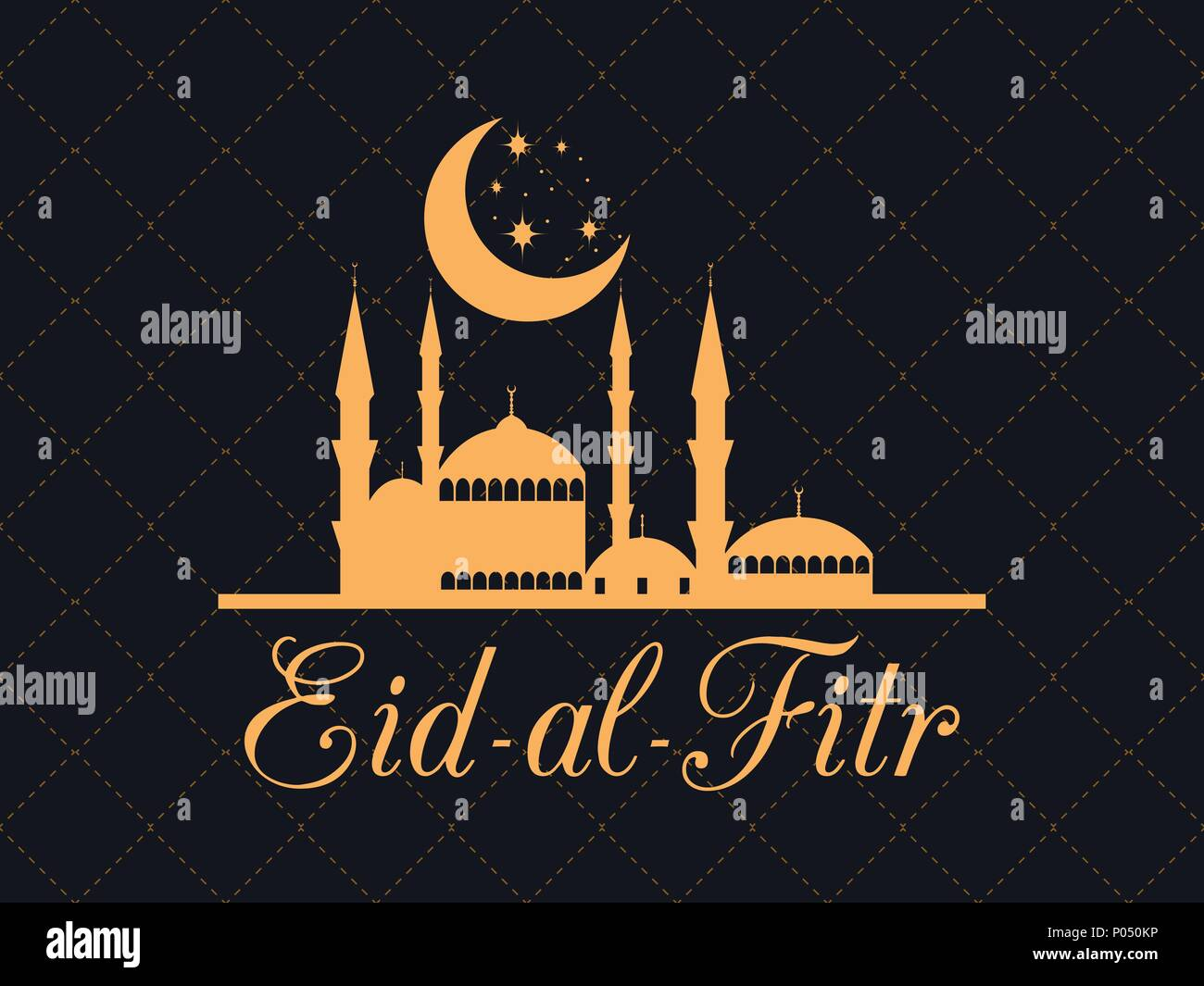 Eid al fitr islamic holiday greeting card with a mosque and the eid al fitr islamic holiday greeting card with a mosque and the moon eid mubarak vector illustration m4hsunfo