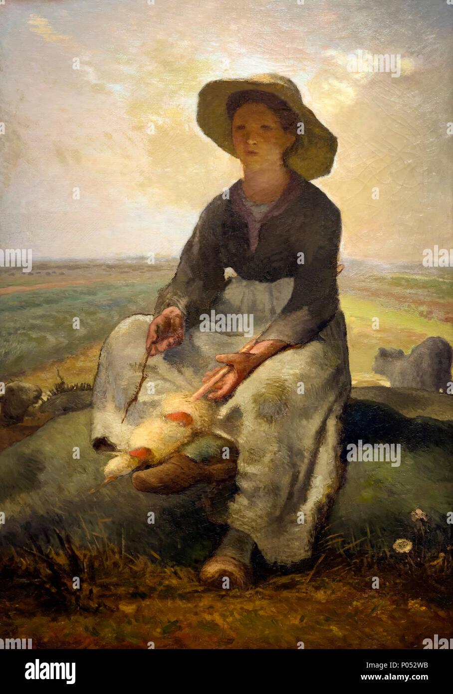 Young Shepherdess, Jean-Francois Millet, circa 1870-1873, Museum of Fine Arts, Boston, Mass, USA, North America - Stock Image