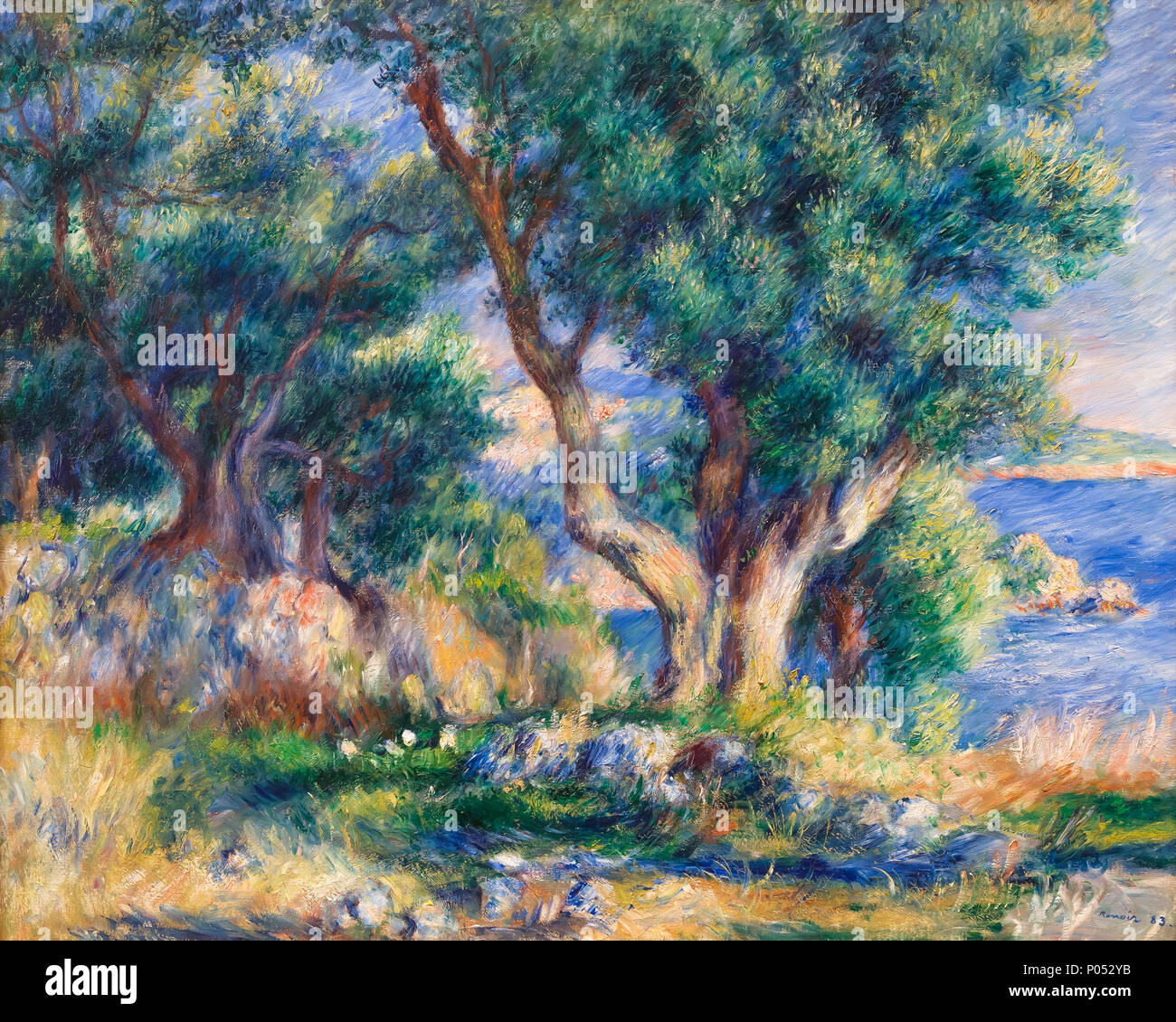 Landscape on the Coast near Menton, Pierre-Auguste Renoir, 1883, Museum of Fine Arts, Boston, Mass, USA, North America - Stock Image