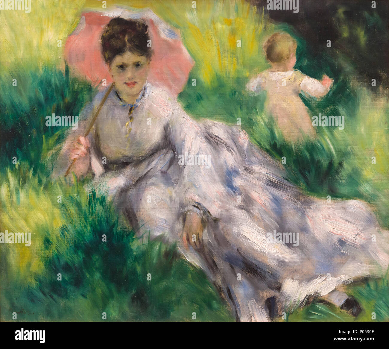 Woman with a Parasol and Small Child on a Sunlit Hillside, Pierre-Auguste Renoir, circa 1875, Museum of Fine Arts, Boston, Mass, USA, North America - Stock Image