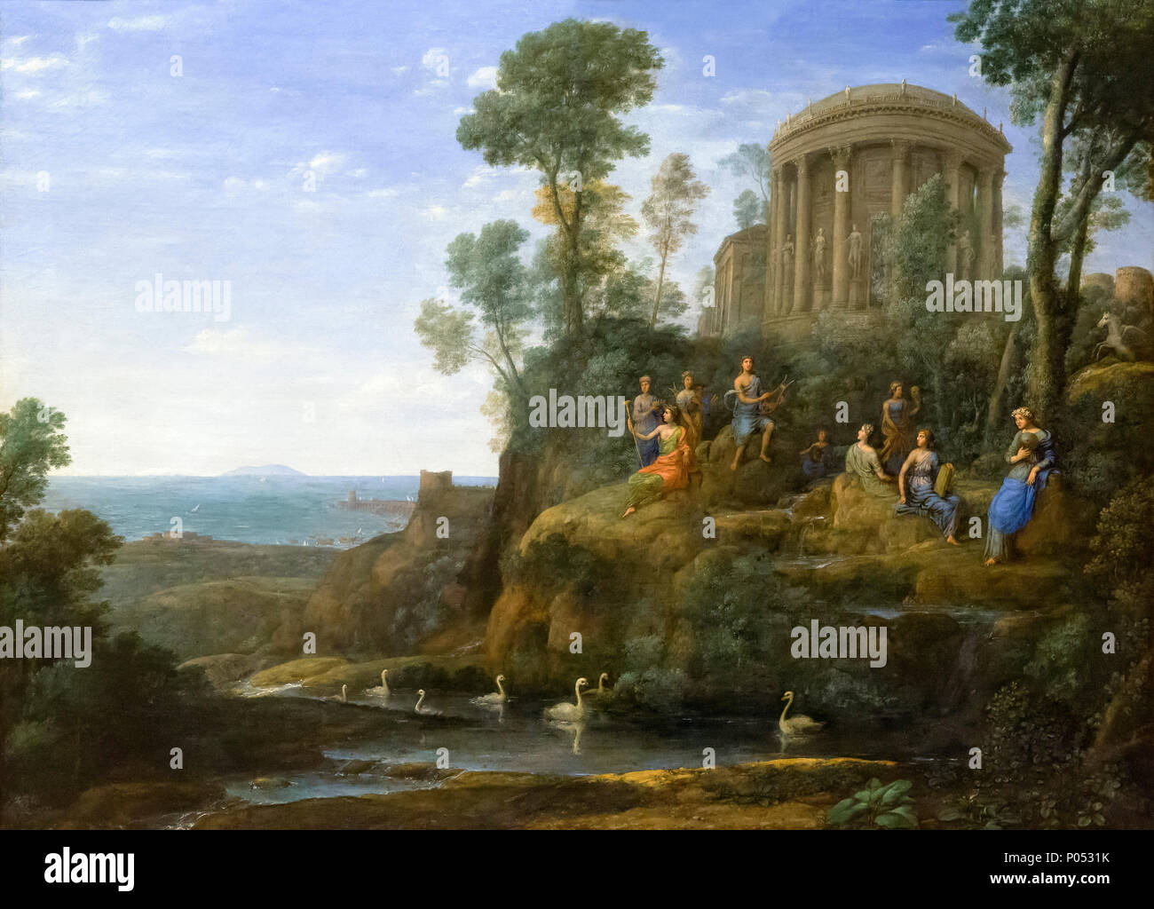 Apollo and the Muses on Mount Helicon, Claude Lorrain, 1680, Museum of Fine Arts, Boston, Mass, USA, North America - Stock Image