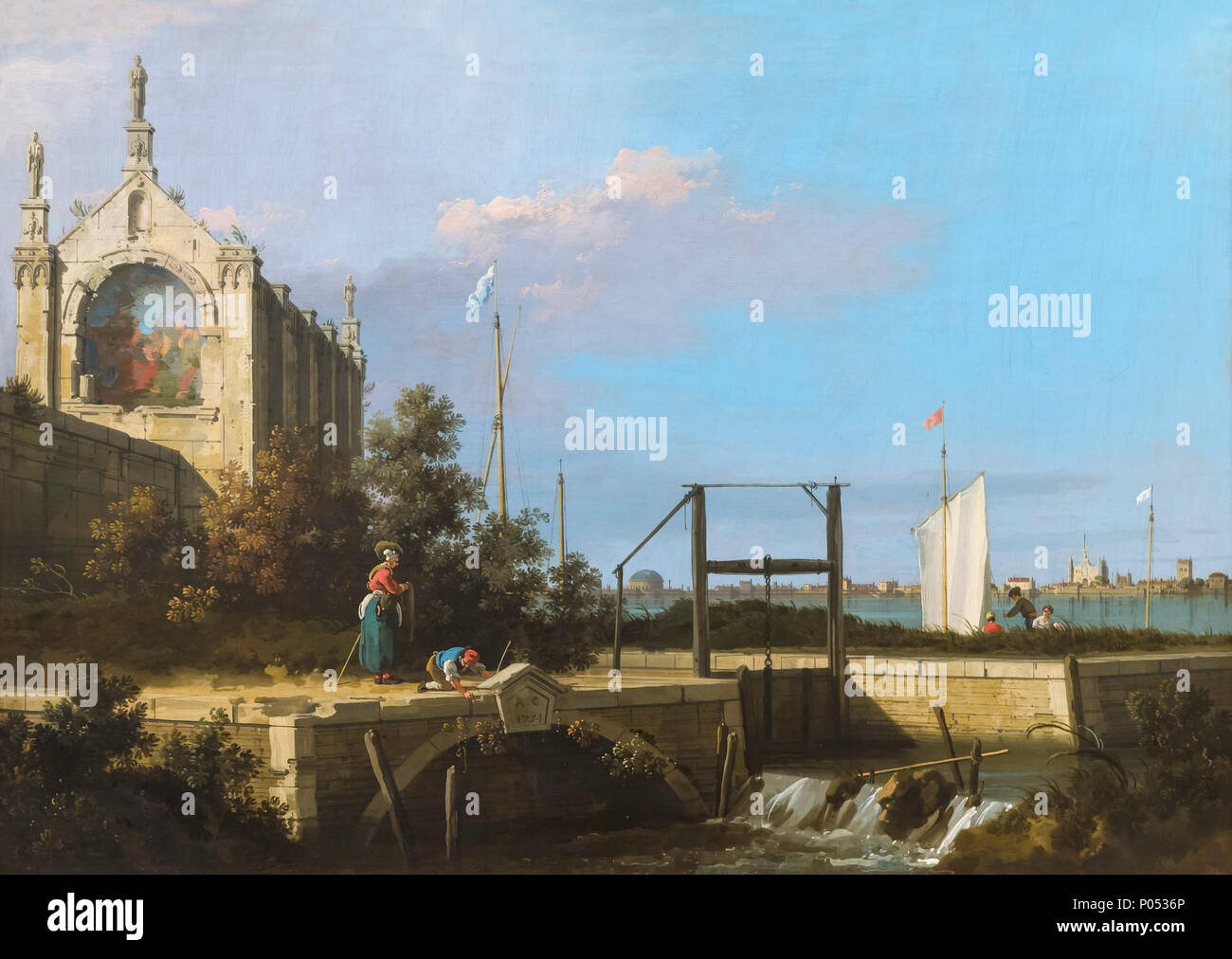 Capriccio, A Sluice on a River with a Chapel, Canaletto, 1754, Museum of Fine Arts, Boston, Mass, USA, North America - Stock Image