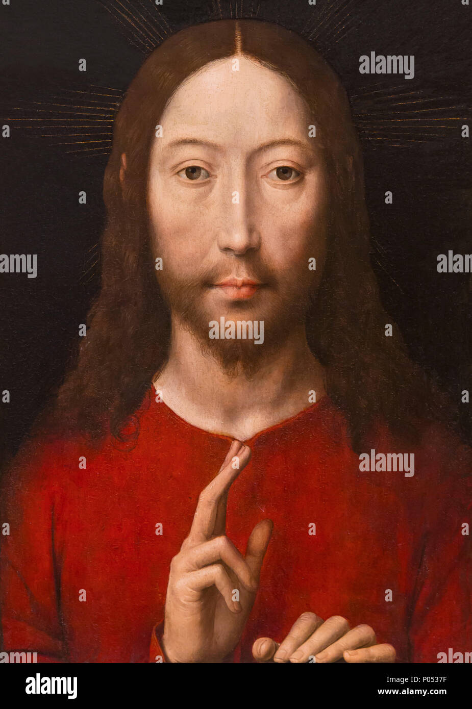Christ Blessing, Hans Memling, 1481, Museum of Fine Arts, Boston, Mass, USA, North America - Stock Image