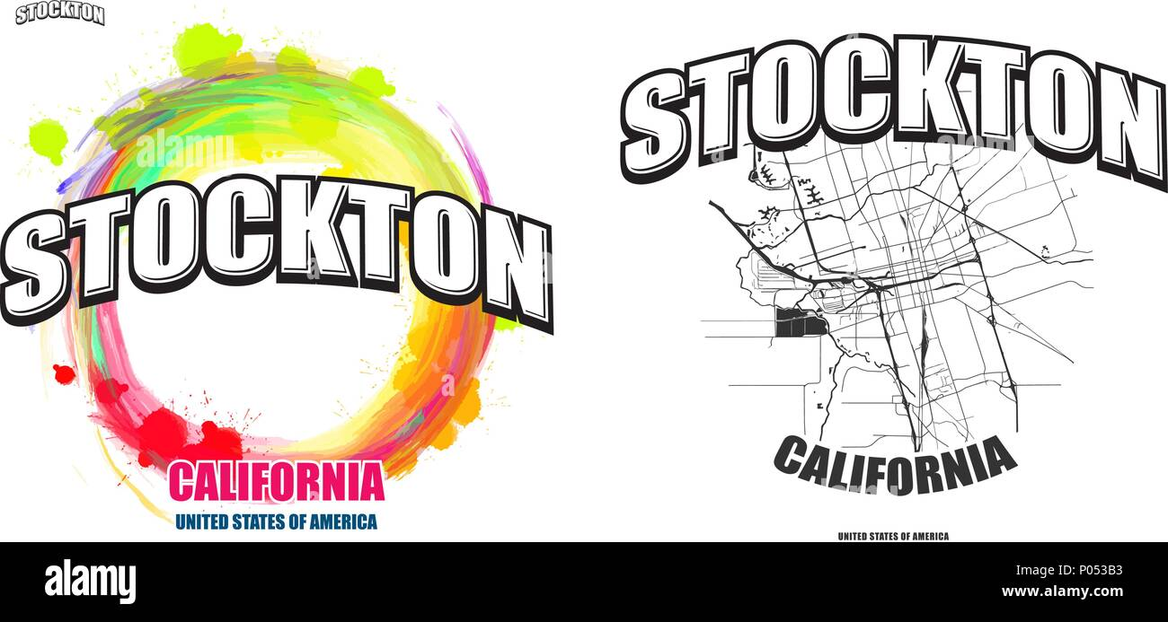 Stockton, California, logo design. Two in one vector arts ...