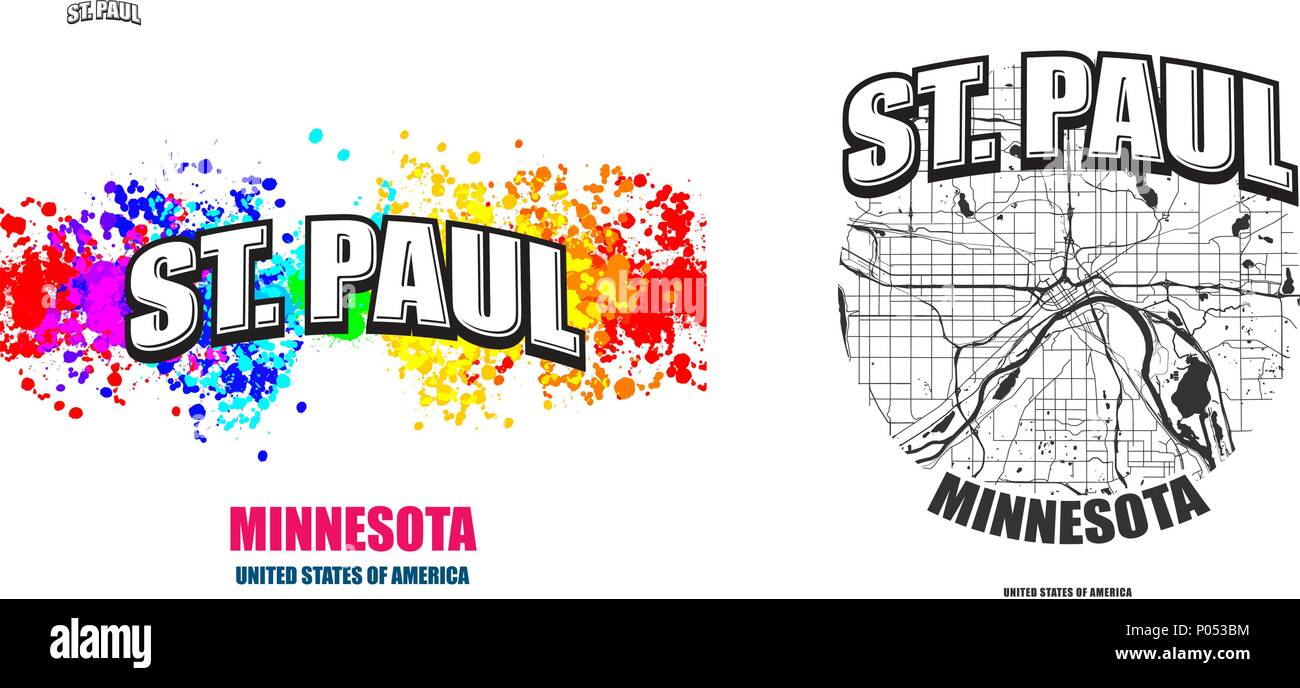 Saint Paul, Minnesota, logo design. Two in one vector arts ... on new hampshire united states map, minneapolis map, nevada united states map, wage statistics united states map,