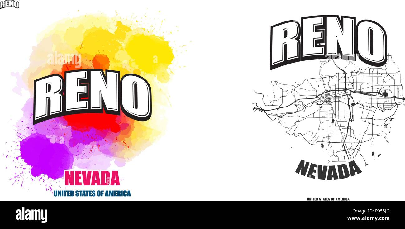 Reno, Nevada, logo design. Two in one vector arts. Big logo with ...