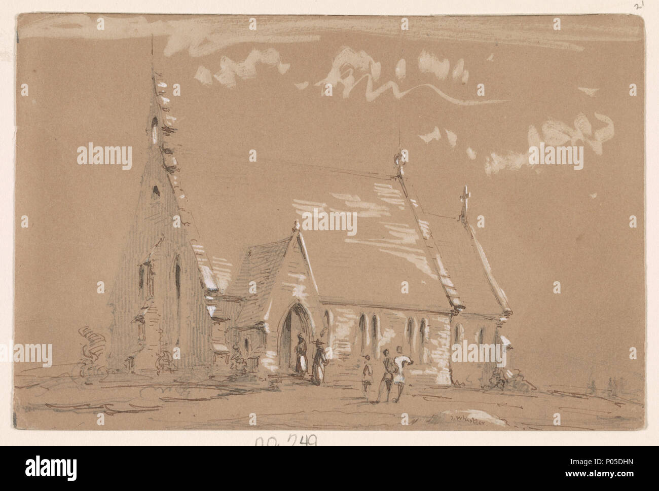 English Title A Country Church Abstract Medium 1 Drawing Graphite Pen And Ink White Paint Sheet 117 X 176 Cm 1852 Whistler James McNeill