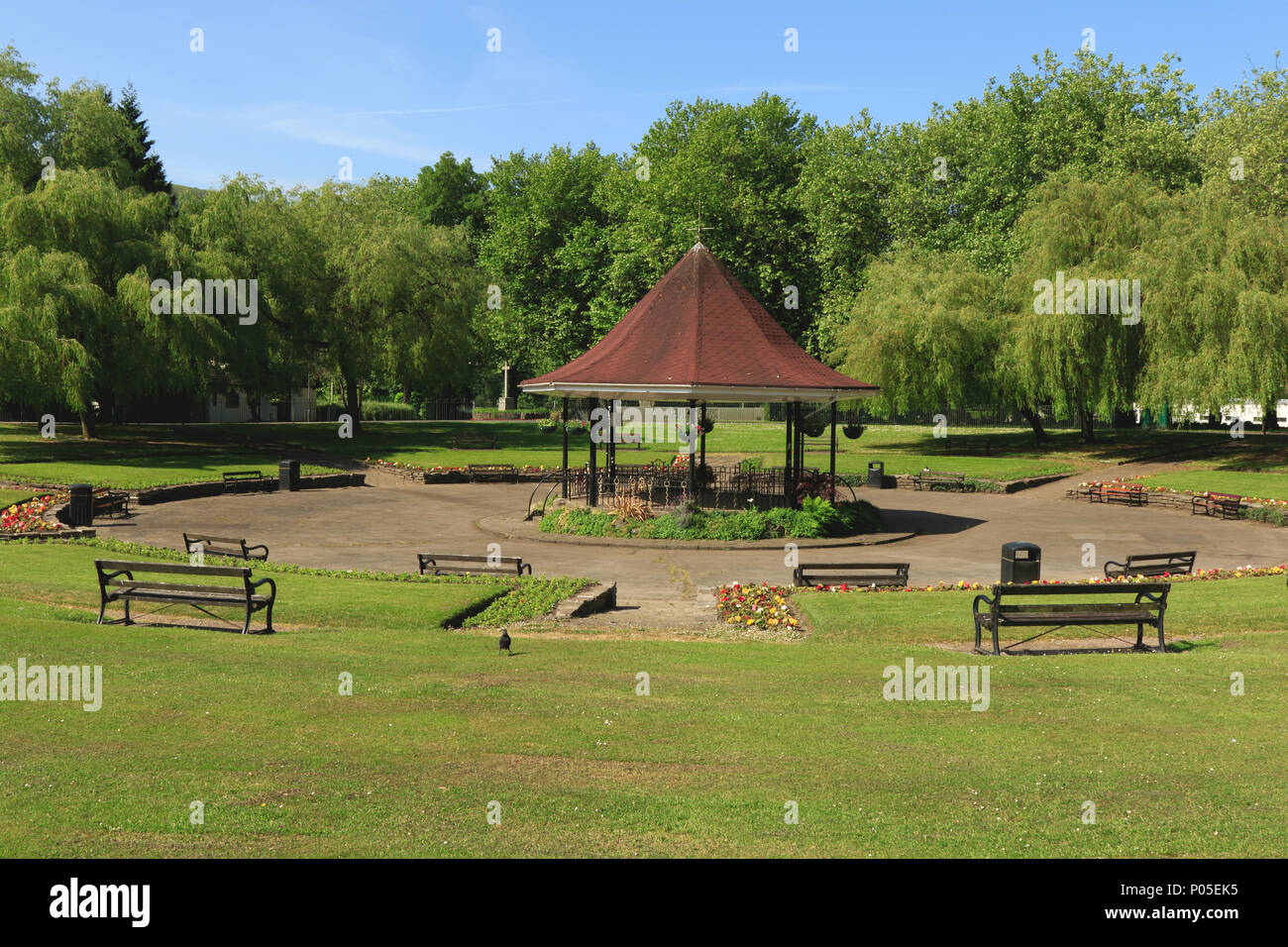 The Bandstand, Ynysangharad Park, Pontypridd, South Wales, UK - Stock Image
