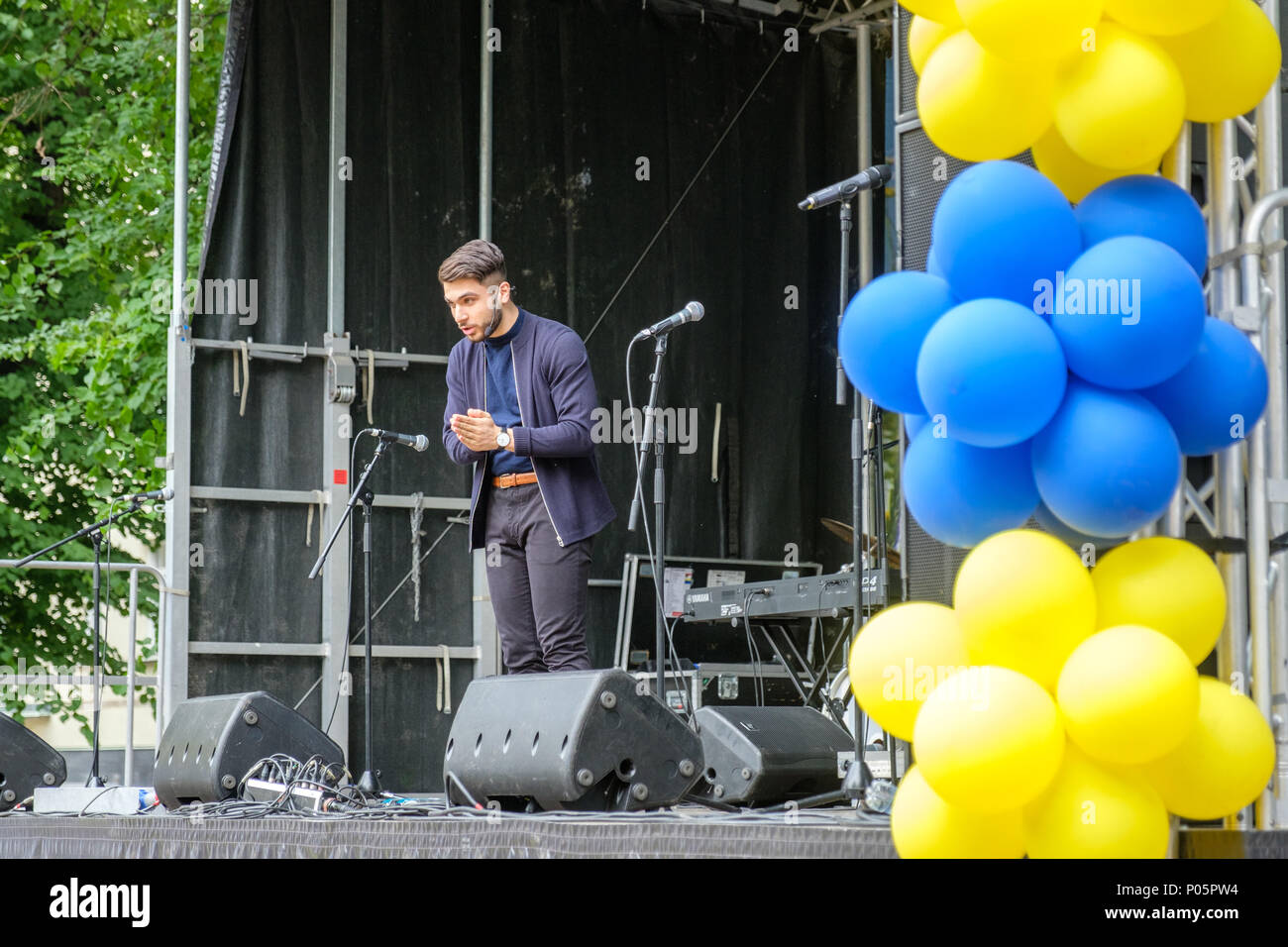 Shanga Aziz, co-founder of Locker Room Talk, was a speaker during National day celebration in the Olai Park of Norrkoping, Sweden. - Stock Image