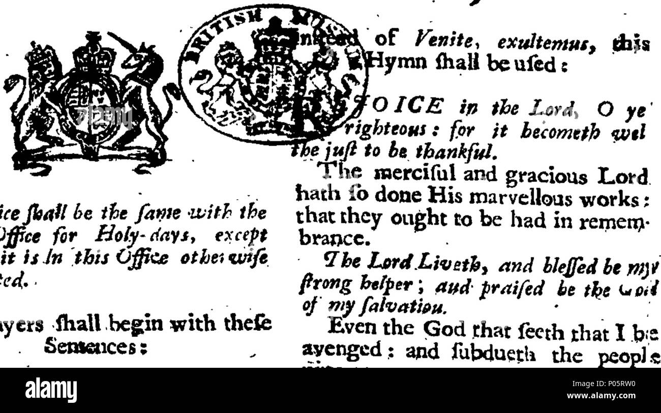 . English: Fleuron from book: A form of prayer and thanksgiving to almighty God; to be used in all churches and chapels throughout England, the Dominion of Wales and town of Berwick upon Tweed, on Thrsday [sic] the ninth day of October next, being the day appointed by proclamation for a general thanksgiving to almighty God; for the suppression of the late unatural rebellion, and Deliverance of these Kingdoms from the Calamities of an Intestine War By His Majesty's Special Command, 99 A form of prayer and thanksgiving to almighty God; to be used in all churches and chapels throughout England Fl - Stock Image