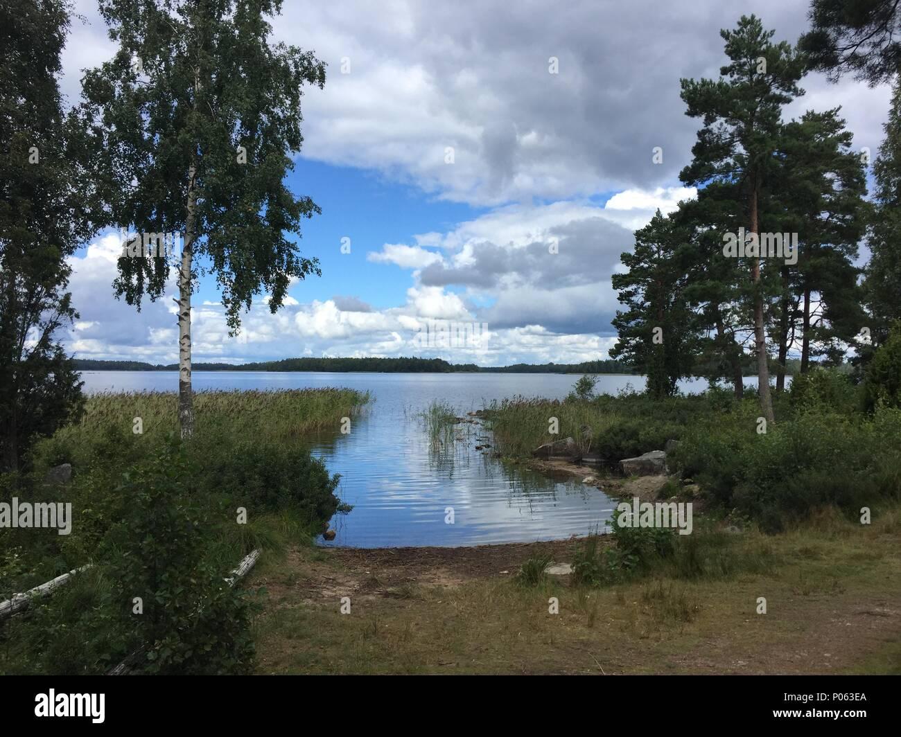 See Kanurevier Lake Asnen Schweden - Stock Image