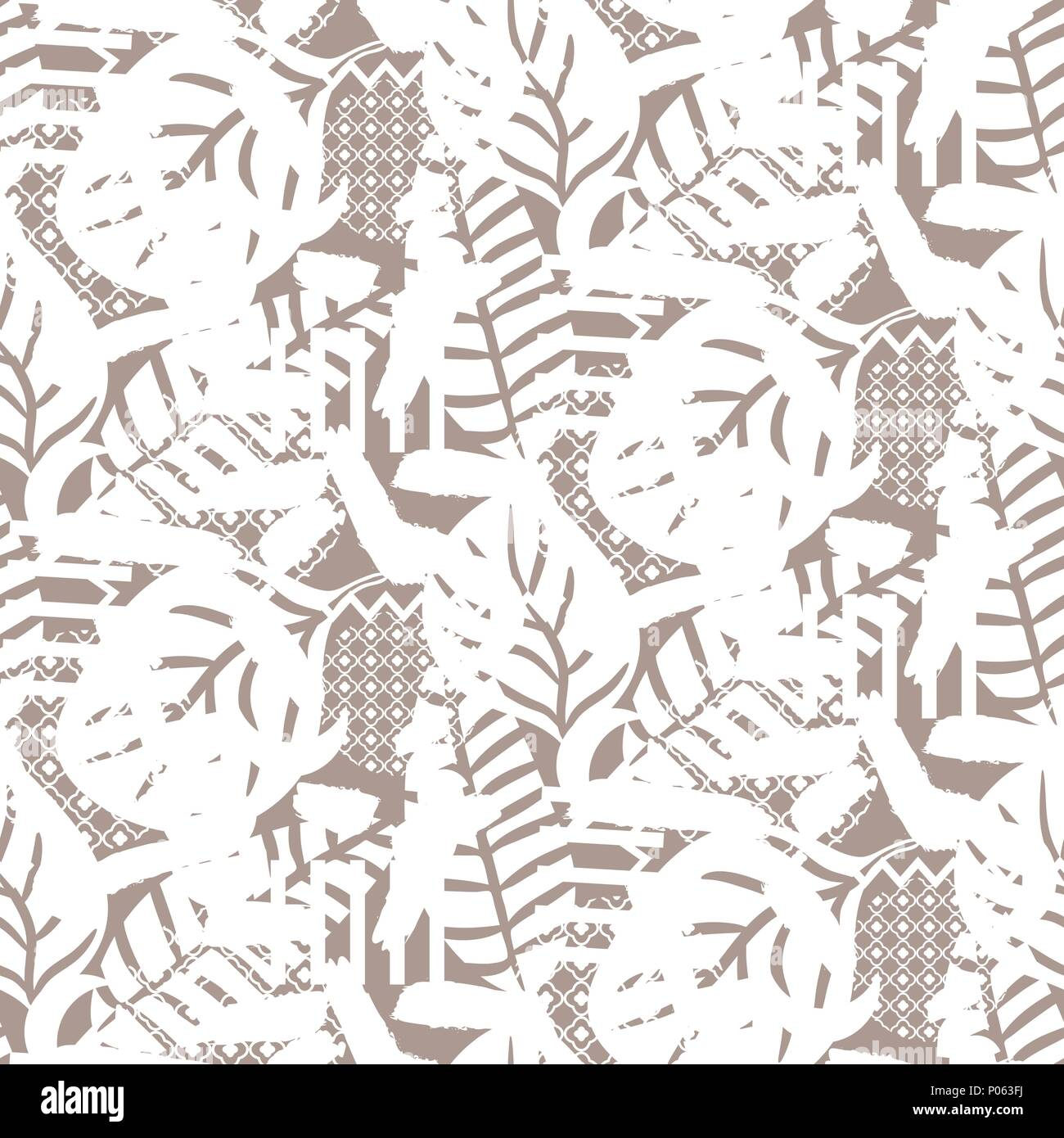Stylized nature motif background texture. Beige neutral seamless pattern. - Stock Image