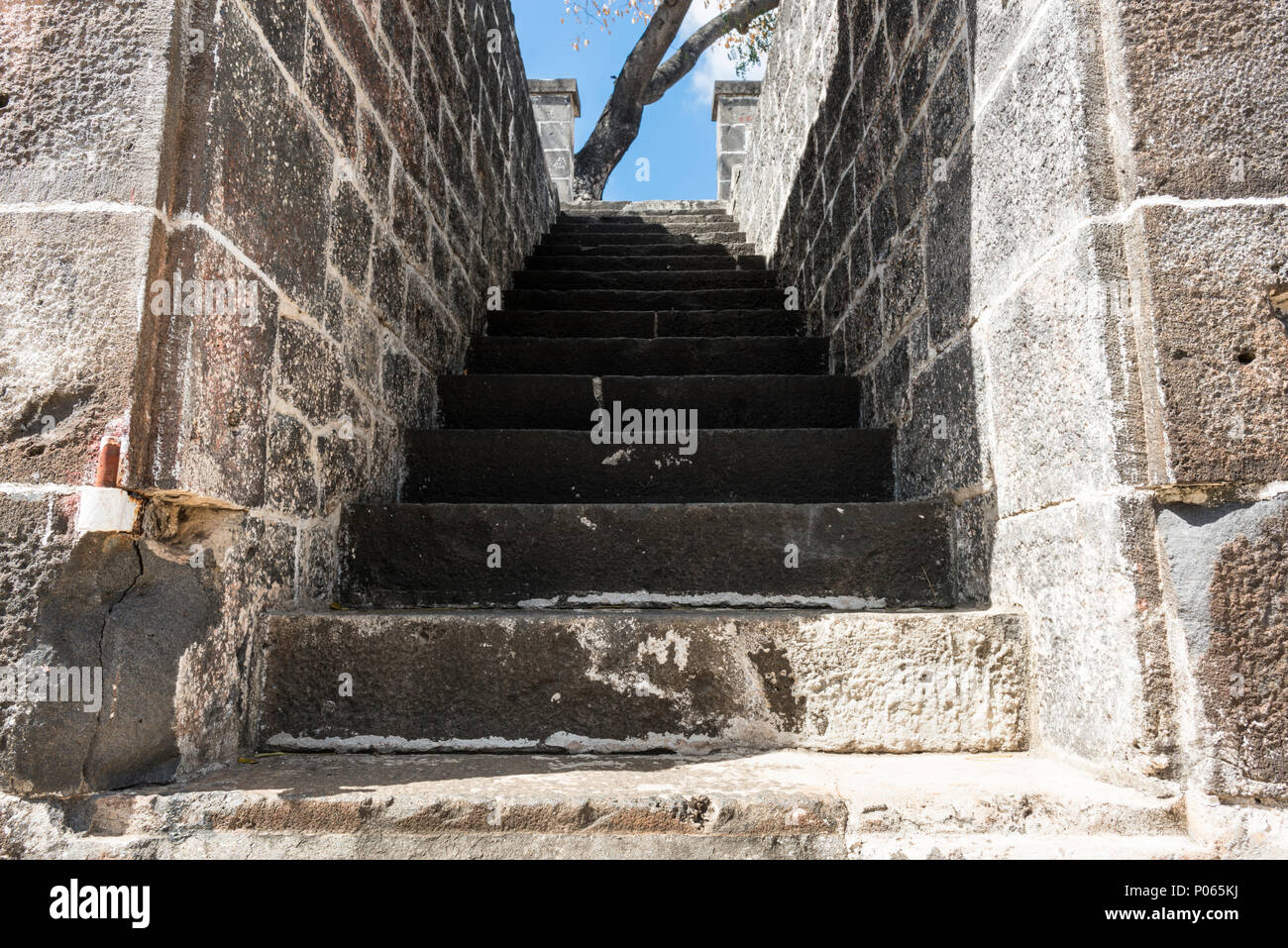 """Steps to a new life at Aapravasi Ghat (Hindi for the """"landing place of immigrants""""), previously known as Coolie Ghat. Port Louis. Mauritius Stock Photo"""