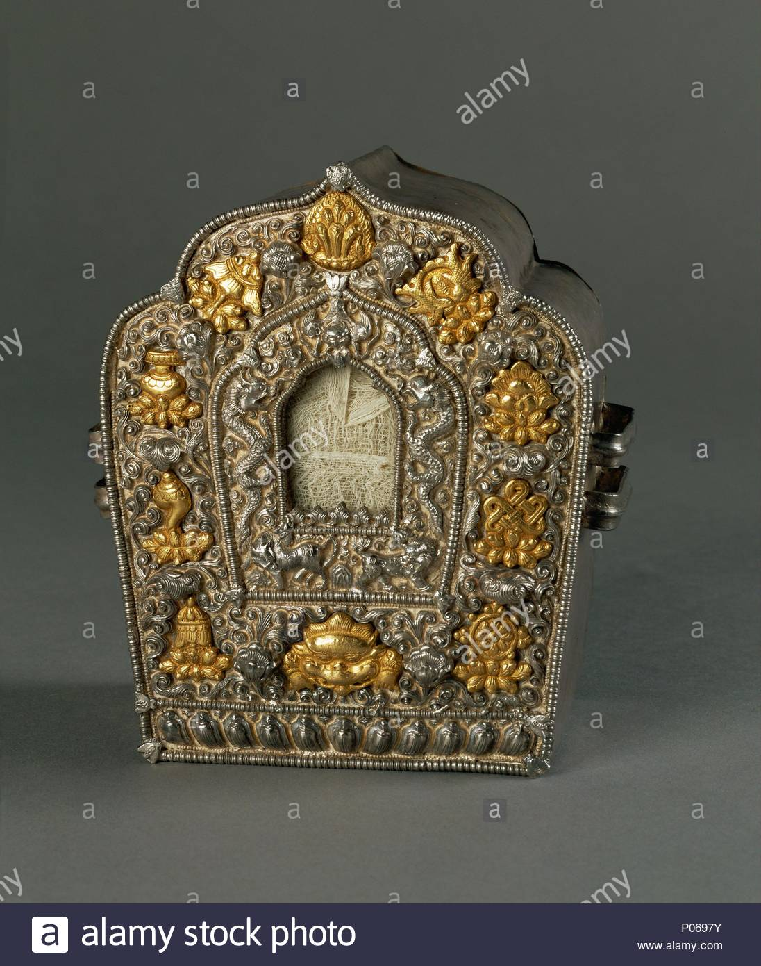 Reliquary With The Eight Auspicious Symbols Used As A Portable