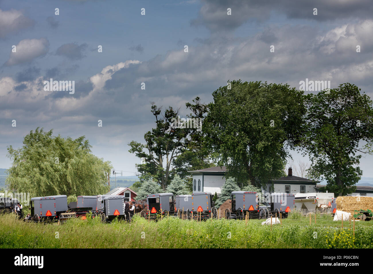 MOHAWK VALLEY, NY/USA - JUNE 18, 2017: Amish Community meets at a different member's house every Sunday. This one is in the Mohawk Valley town of Mind Stock Photo