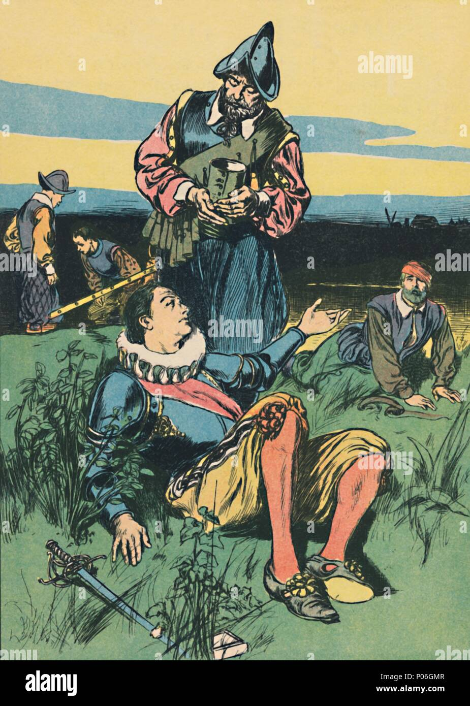 'Sir Philip Sidney and the Dying Soldier', c1907. Artist: Unknown. - Stock Image