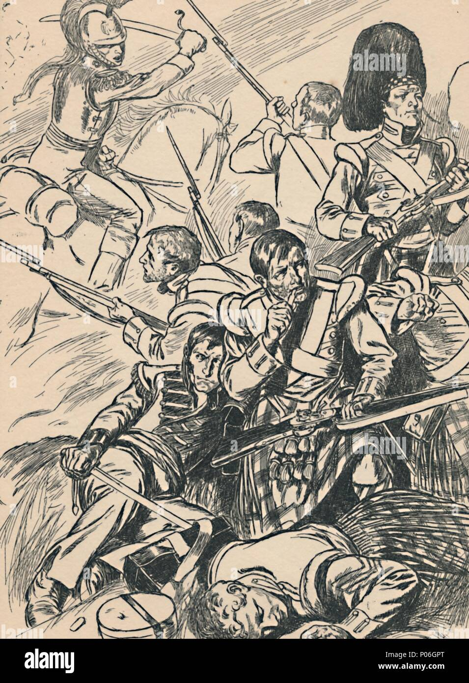 'British Soldiers at the Battle of Waterloo', c1907. From My Book of True Stories. [Blackie and Son Limited, London] - Stock Image
