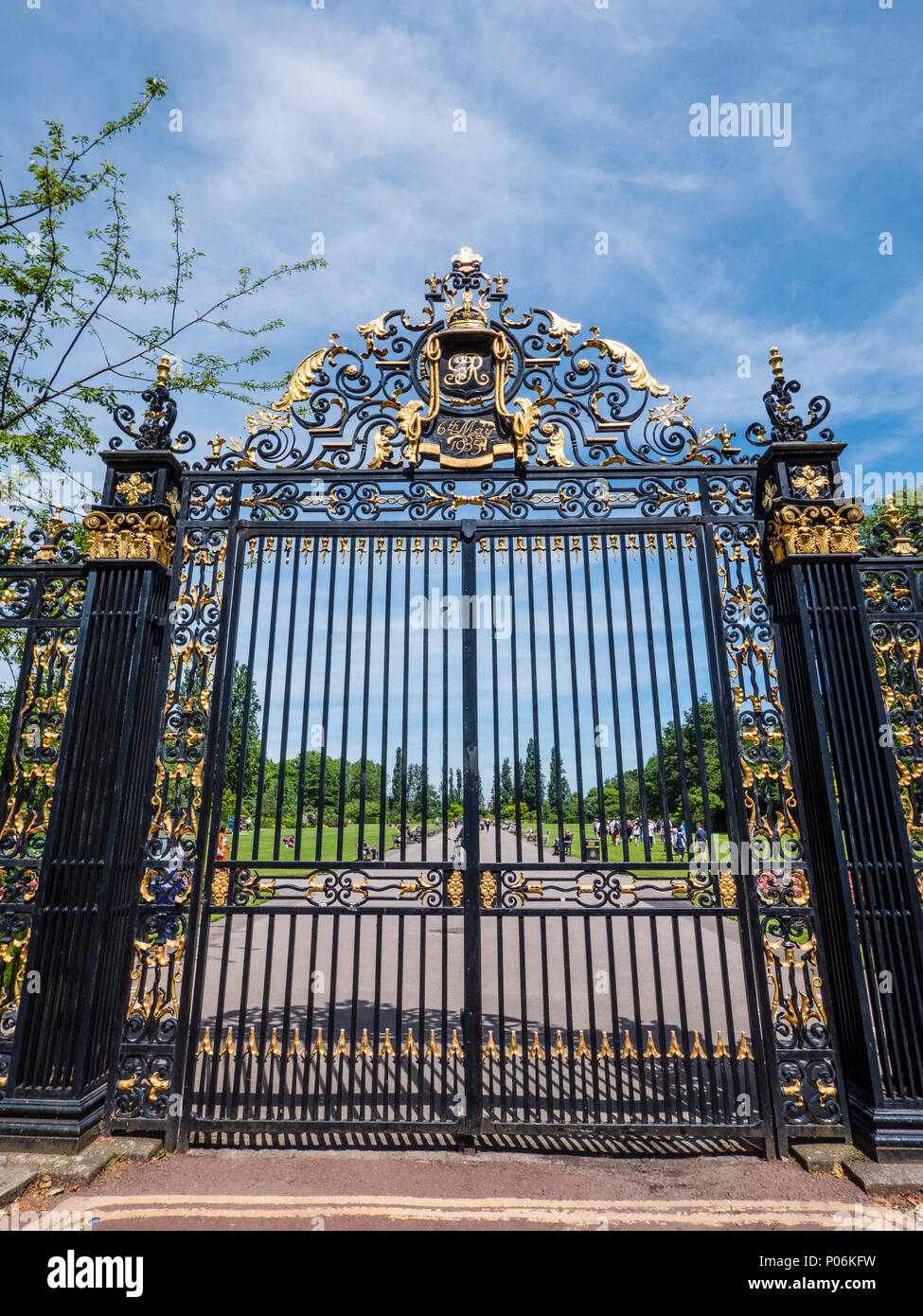 Gates to Regents Park, From the Inner Circle, Regents Park, London, England, UK, GB - Stock Image