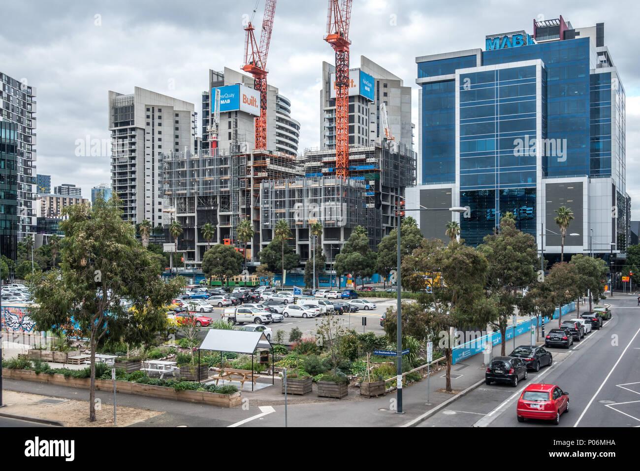 Community Gardens, public car park and modern buildings in Docklands. Melbourne, VIC Australia. - Stock Image