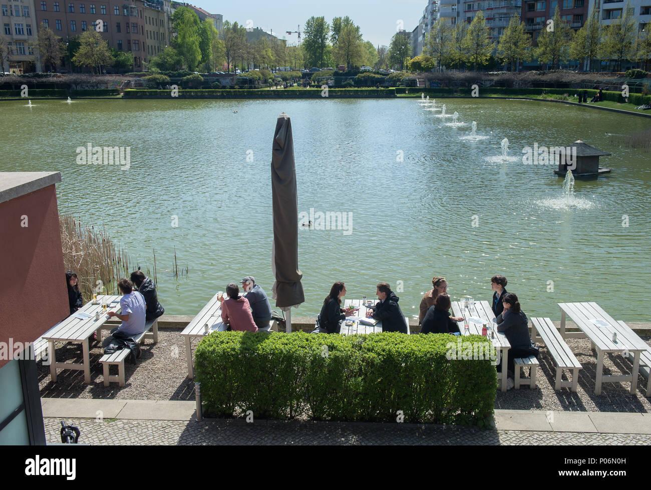Berlin, Germany, Guests at Cafe am Engelbecken - Stock Image