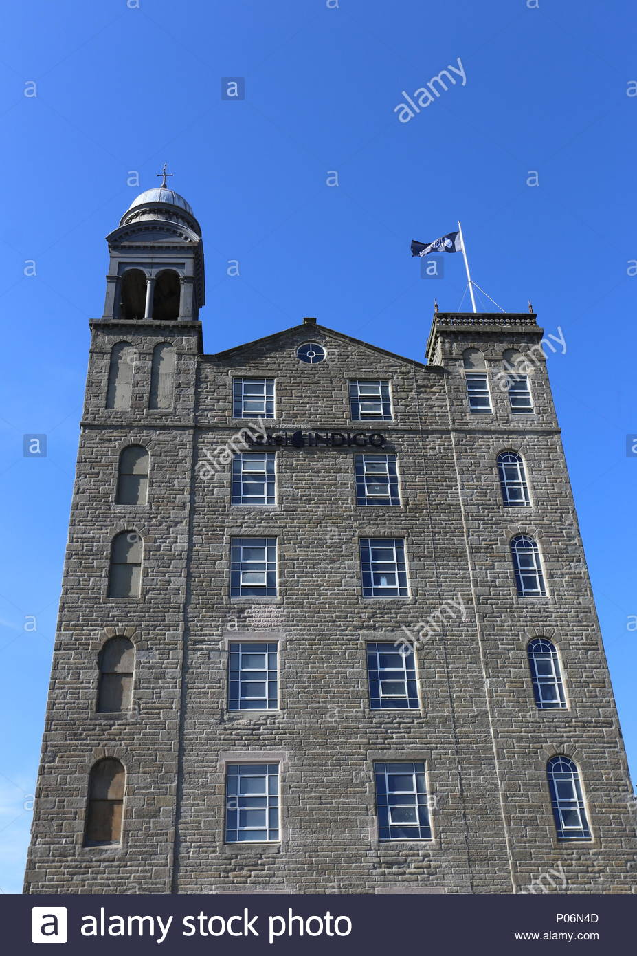 Former Baxter Brothers Mills being refurbished into Hotel Indigo with logo Dundee Scotland  June 2018 - Stock Image