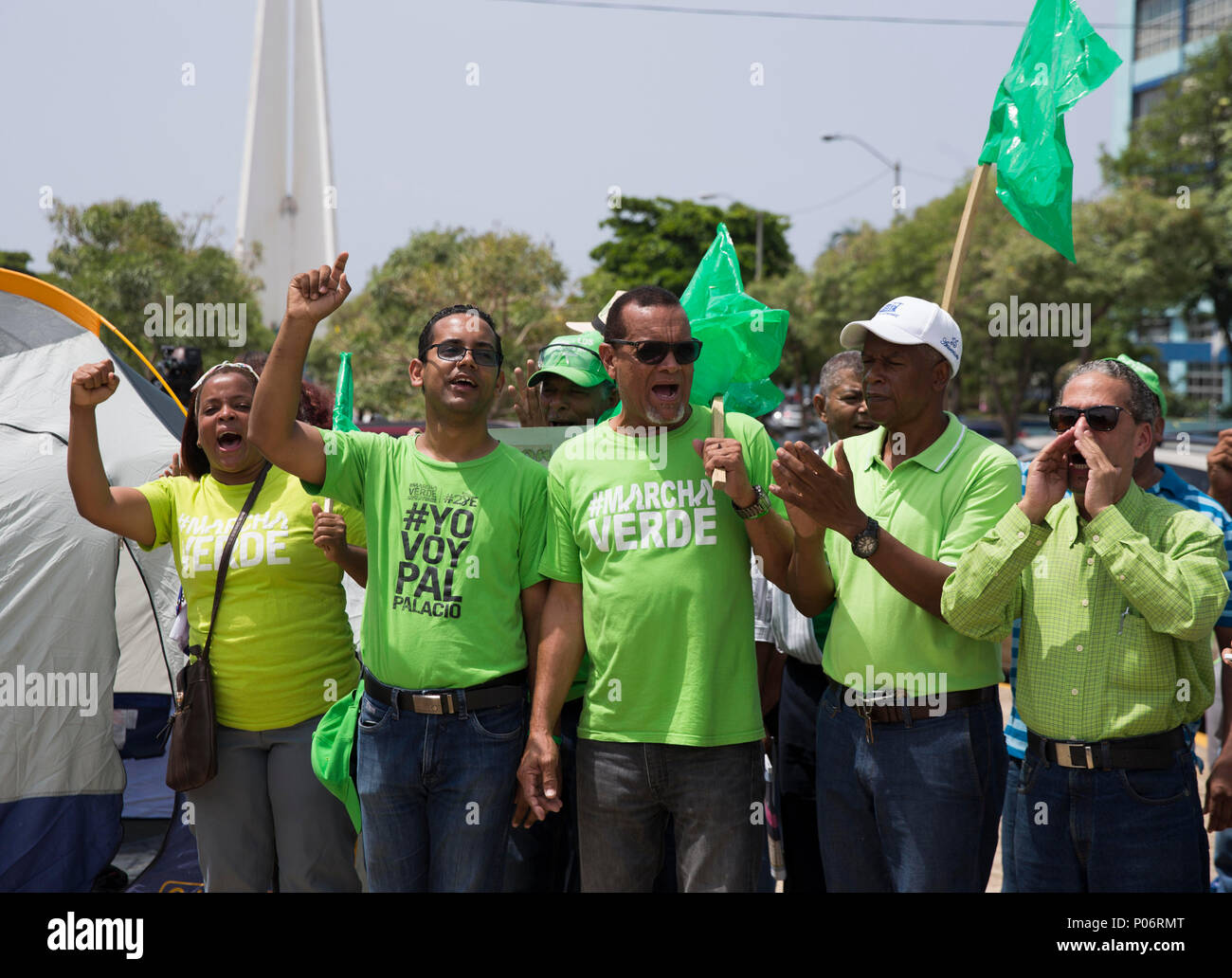 Members of the collective Marcha Verde, emerged after revealing the bribes for 92 million dollars that Odebrecht claimed to have distributed in the country between 2001 and 2014, assemble a camp in front of the headquarters of the Attorney General's Office, in Santo Domingo, Dominican Republic, on 8 June 2018, place where they criticized the decision of the Public Ministry to exclude eight of the fourteen initially charged for this case. EFE/Orlando Barría Stock Photo