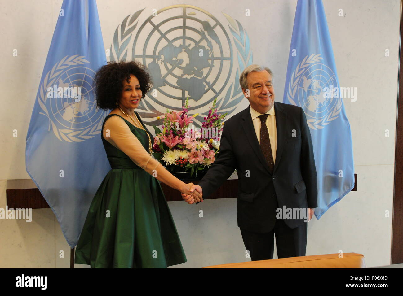UN, New York, USA. 8th June, 2018. UN Sec Gen Antonio Guterres met Lindiwe Nonceba Sisulu, Minister for International Relations and Cooperation of South Africa just after the country was elected to UN Security Council seat. Photo: Matthew Russell Lee / Inner City Press Credit: Matthew Russell Lee/Alamy Live News Stock Photo