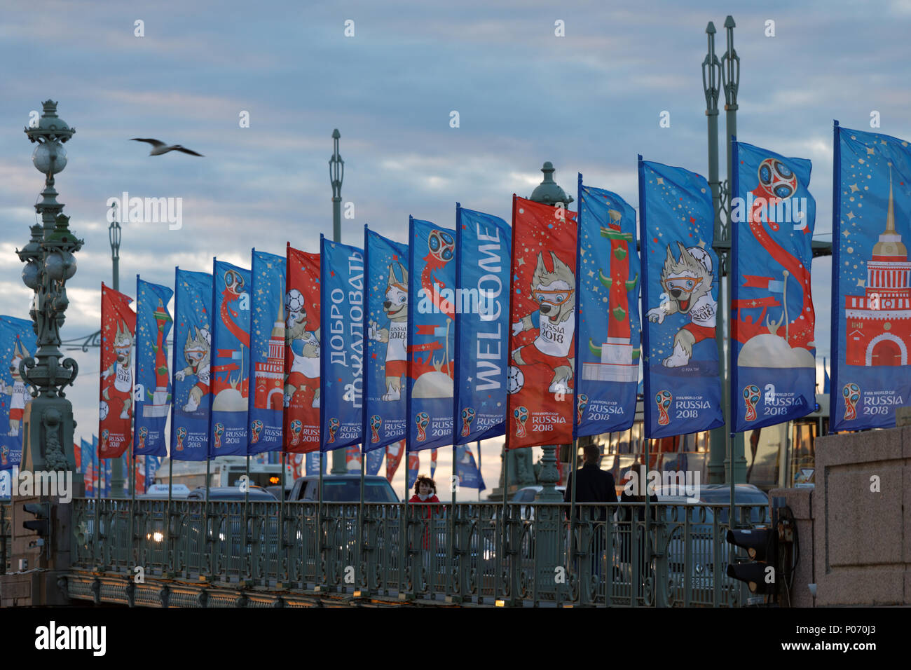 St. Petersburg, Russia, 8th June, 2018. Trinity bridge decorated by banners with Zabivaka, the mascot of FIFA World Cup 2018. Saint-Petersburg will host eight matches of World Cup first of which will be held on June 15 Credit: StockphotoVideo/Alamy Live News - Stock Image