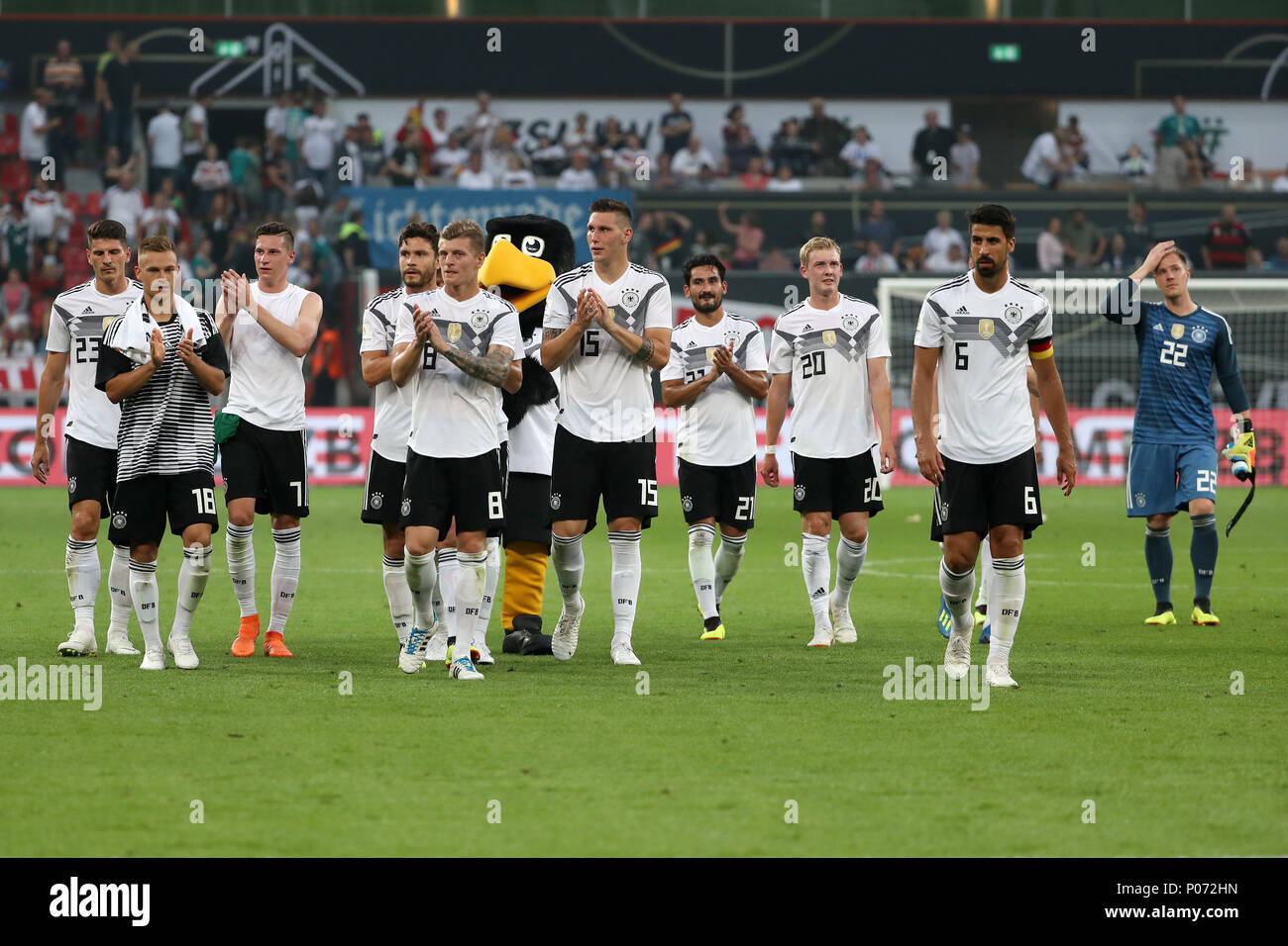 Leverkusen. 8th June, 2018. Players of Germany celebrate after winning the international friendly match between Germany and Saudi Arabia at Bay Arena on June 8, 2018 in Leverkusen, Germany. Credit: Ulrich Hufnagel/Xinhua/Alamy Live News Stock Photo