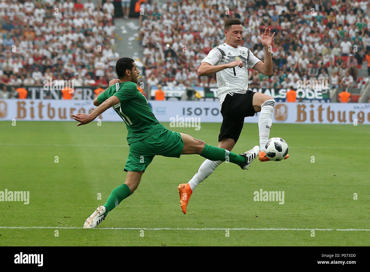 Leverkusen. 8th June, 2018. Julian Draxler (R) of Germany competes during the international friendly match between Germany and Saudi Arabia at Bay Arena on June 8, 2018 in Leverkusen, Germany. Credit: Ulrich Hufnagel/Xinhua/Alamy Live News Stock Photo