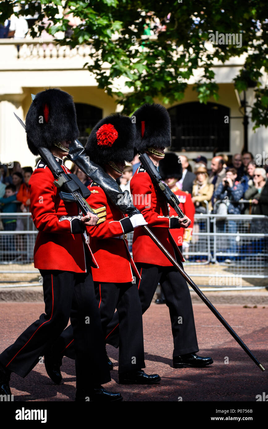 Ceremonial military section 1st Battalion Coldstream Guards carrying the Colour headed towards Horse Guards Parade for the Trooping the Colour 2018 Stock Photo