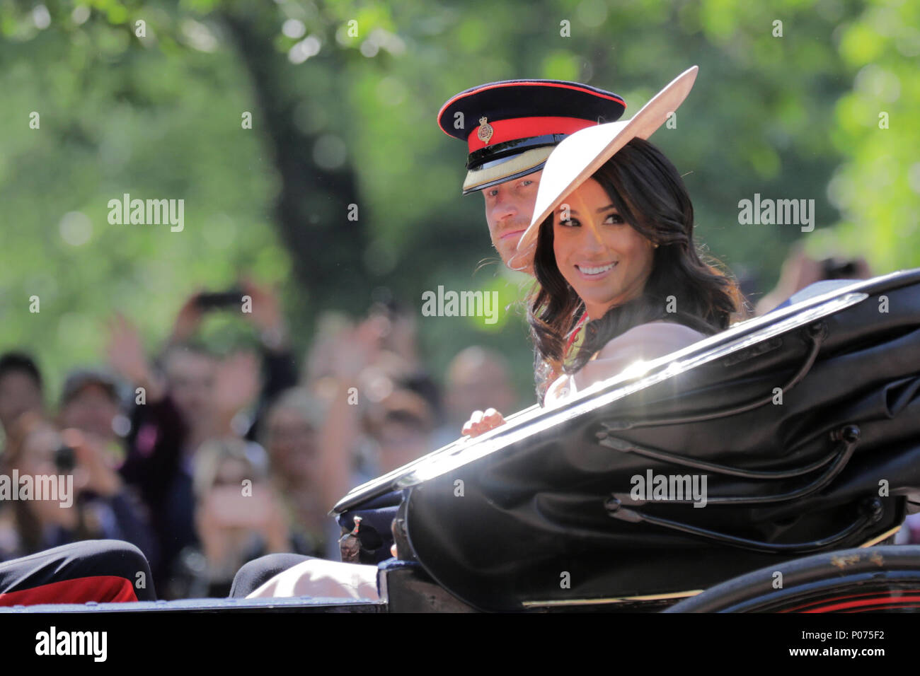 London, UK, 9 June 2018.  Meghan, Duchess of Sussex, attends her first Trooping the Colour Queens Birthday Parade, seated alongside her husband, HRH Prince Harry, Duke of Sussex Credit: amanda rose/Alamy Live News Stock Photo