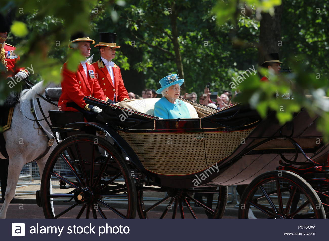 London, UK, 9 June 2018. The annual Trooping the Colour has taken place in London in honour of Queen Elizabeth's birthday. Thousands lined the streets to welcome Her Majesty and other members of the Royal Family as they travelled by coach from Buckingham Palace to Horse Guards Parade. Here the Queen's carriage returns down the Mall towards Buckingham Palace Credit: Clearpix/Alamy Live News Stock Photo