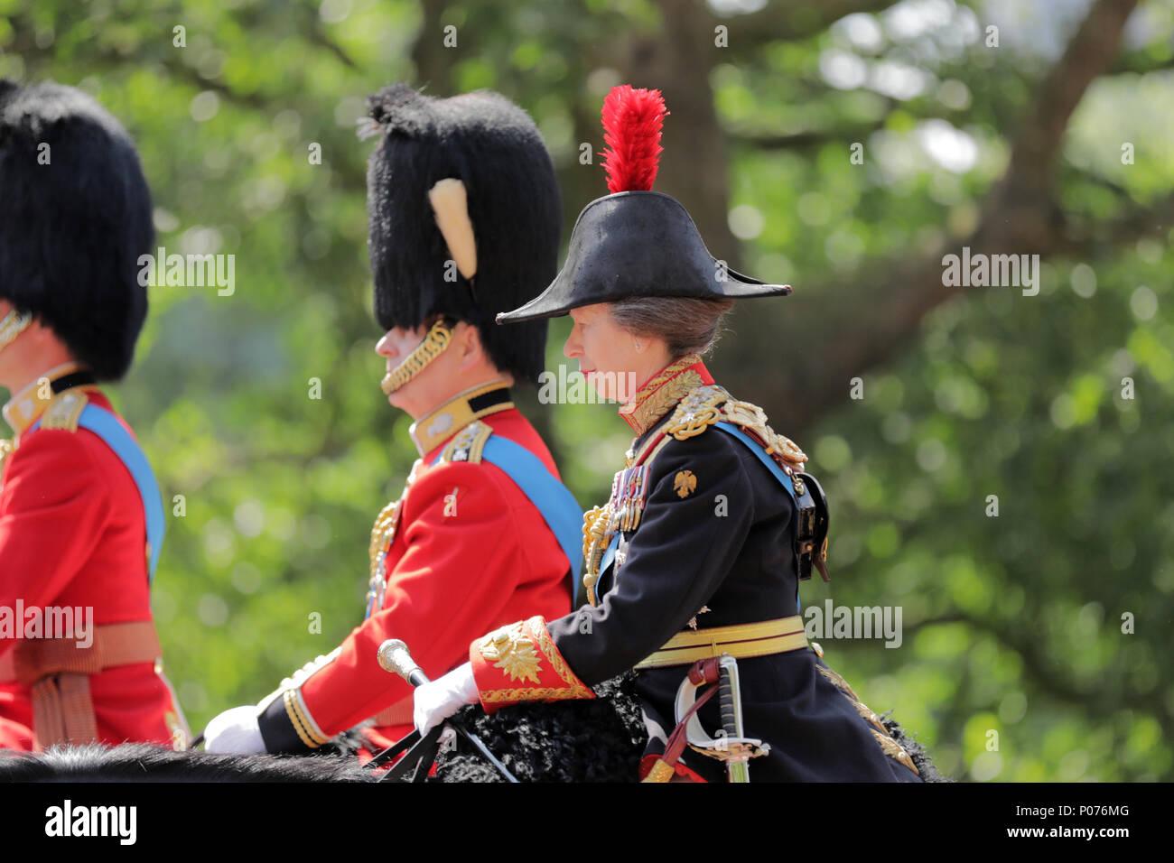 London, UK, 9 June 2018.  HRH Princess Anne, The Princess Royal, on Horseback,Trooping the Colour Credit: amanda rose/Alamy Live News Credit: amanda rose/Alamy Live News Stock Photo
