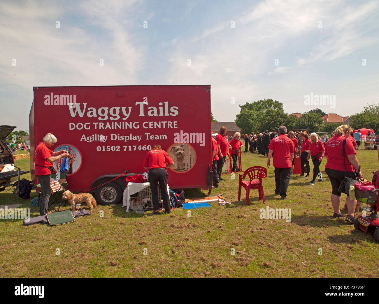 At a Suffolk village fete is parked the lorry of a dog display team Stock Photo