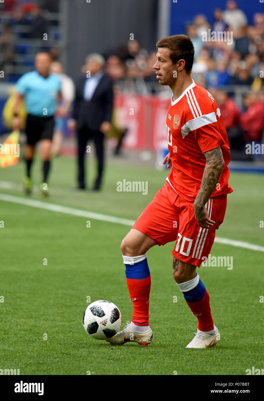c801da40c155 Moscow, Russia - June 5, 2018. Russian striker Fedor Smolov during  international friendly