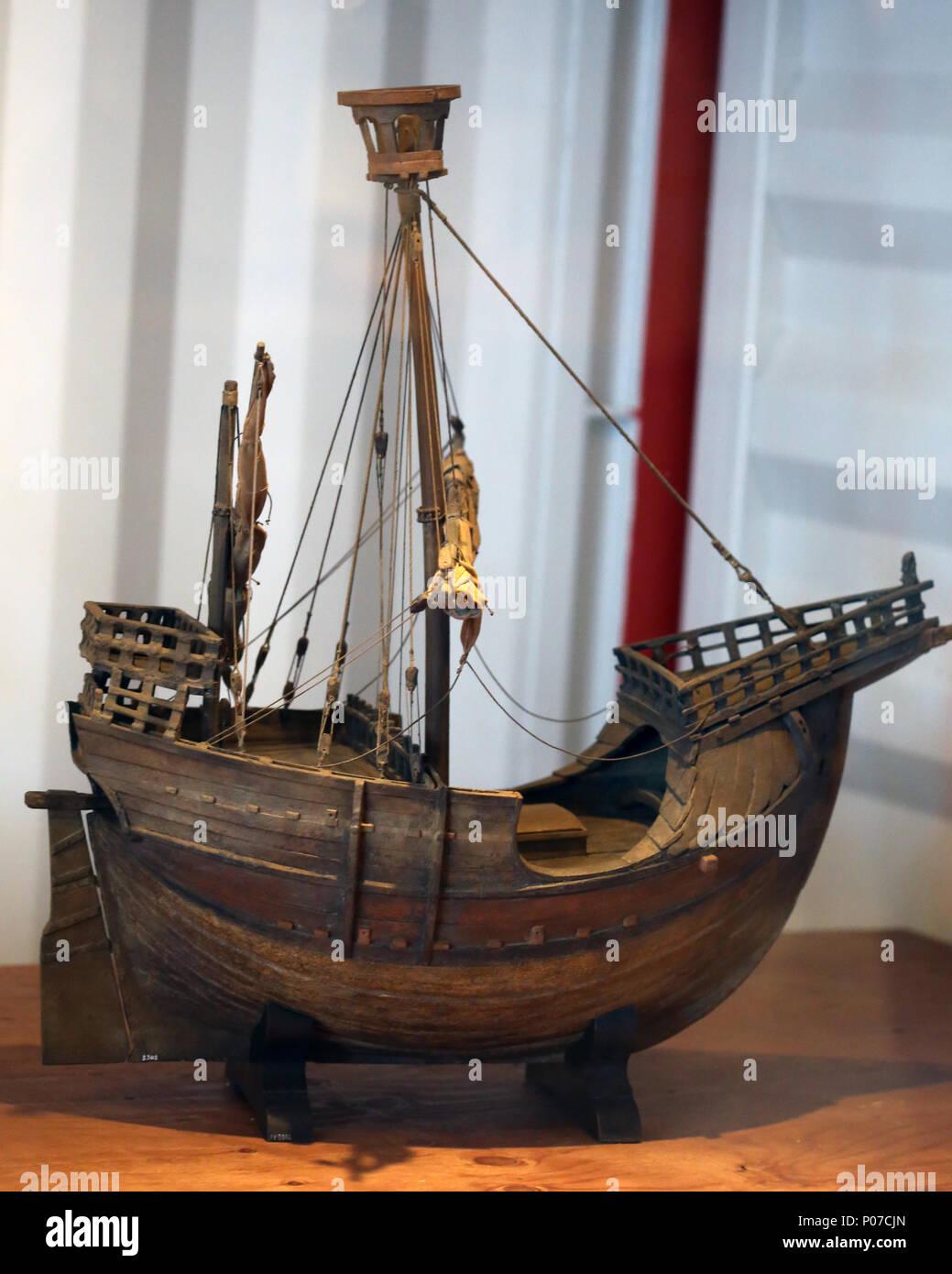 Coca of Mataro. Cocche votive model, Mediterranean adaptation of cog. 15th cent. Maritime Museum of Barcelona. Spain. - Stock Image