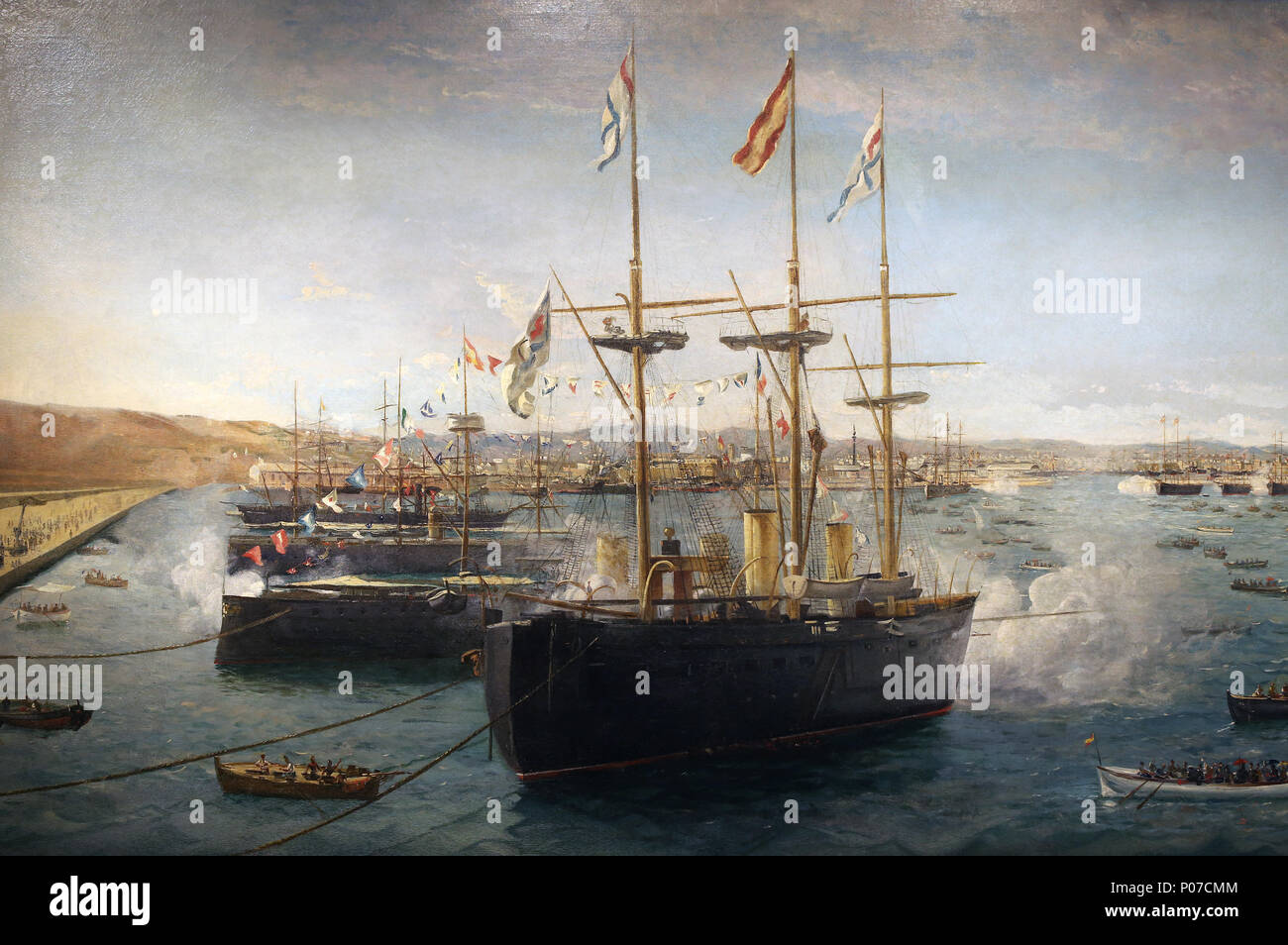 Foreign fleets in Barcelona in 1888. Warships. Painting by Emilio Sivilla. Detail. Barcelona Maritime   Museum. Spain. - Stock Image