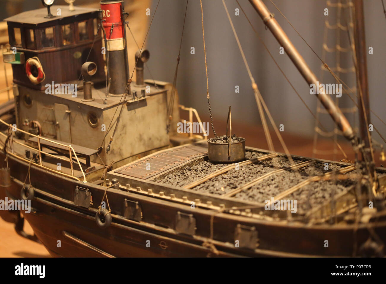 Model of Cap Roig. Small ship of Tansporting coal. Scale: 1:30. Maritime Museum of Barcelona, Catalonia, Spain. - Stock Image