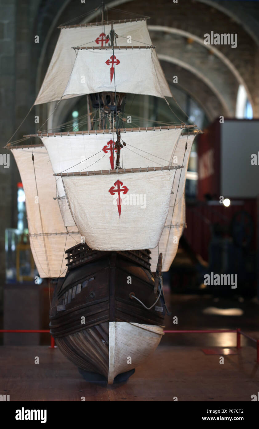 Model Nao Victoria. Spanish carrack.1st in circumnavigate the world with Magellan. 1519-1522. Barcelona Maritime Museum. Spain. - Stock Image