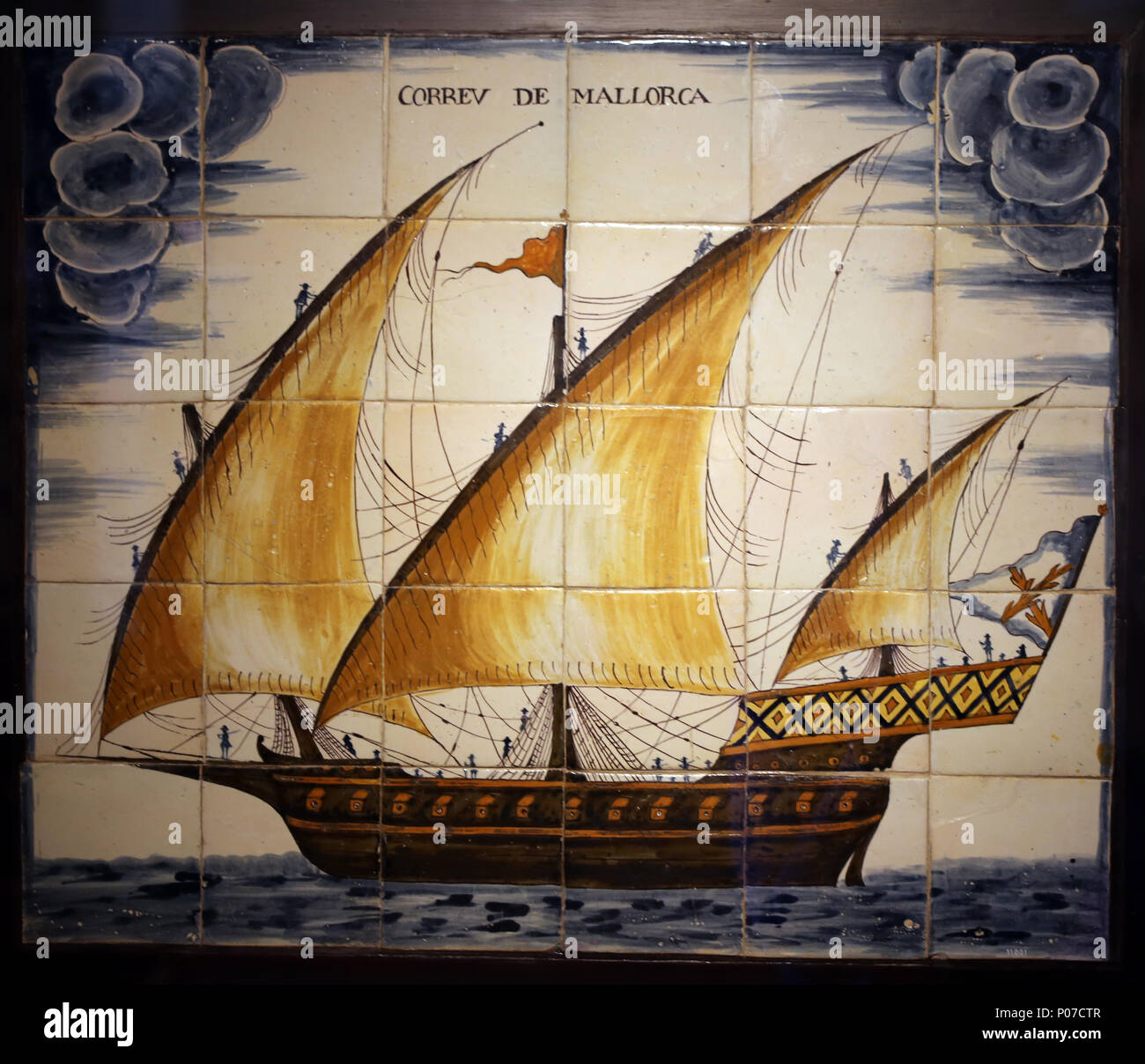 Ceramic panel depicting the Mail of Mallorca. Xebec type ship, 18th century. Barcelona Maritime Museum. Spain. - Stock Image