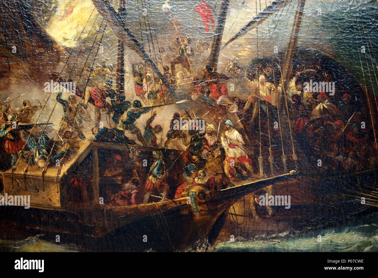 Battle of Lepanto, Octuber 1571. Holly League joined forces against Ottomans. By A.Brugada. Detail. - Stock Image