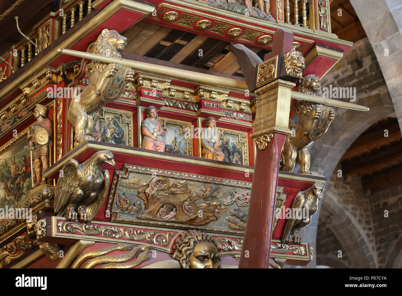 Galley Real, Don Juan's flagship at the battle of Lepanto (1571). Stern. Barcelona Maritime Museum. Spain. - Stock Image