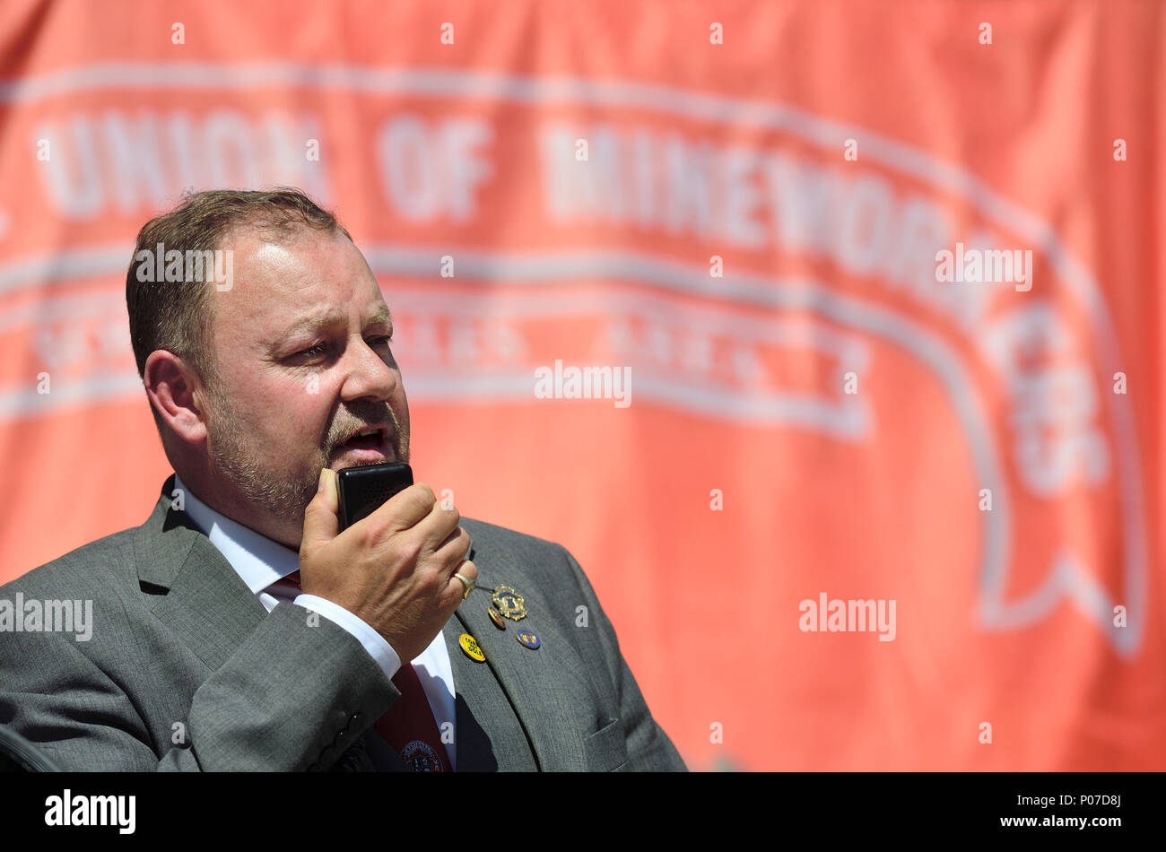 Chris Kitchen - General Secretary, National Union of Mineworkers (UK) speaking at the UK Mineworkers' Pension Campaign Rally in Westminster, June 6th  - Stock Image