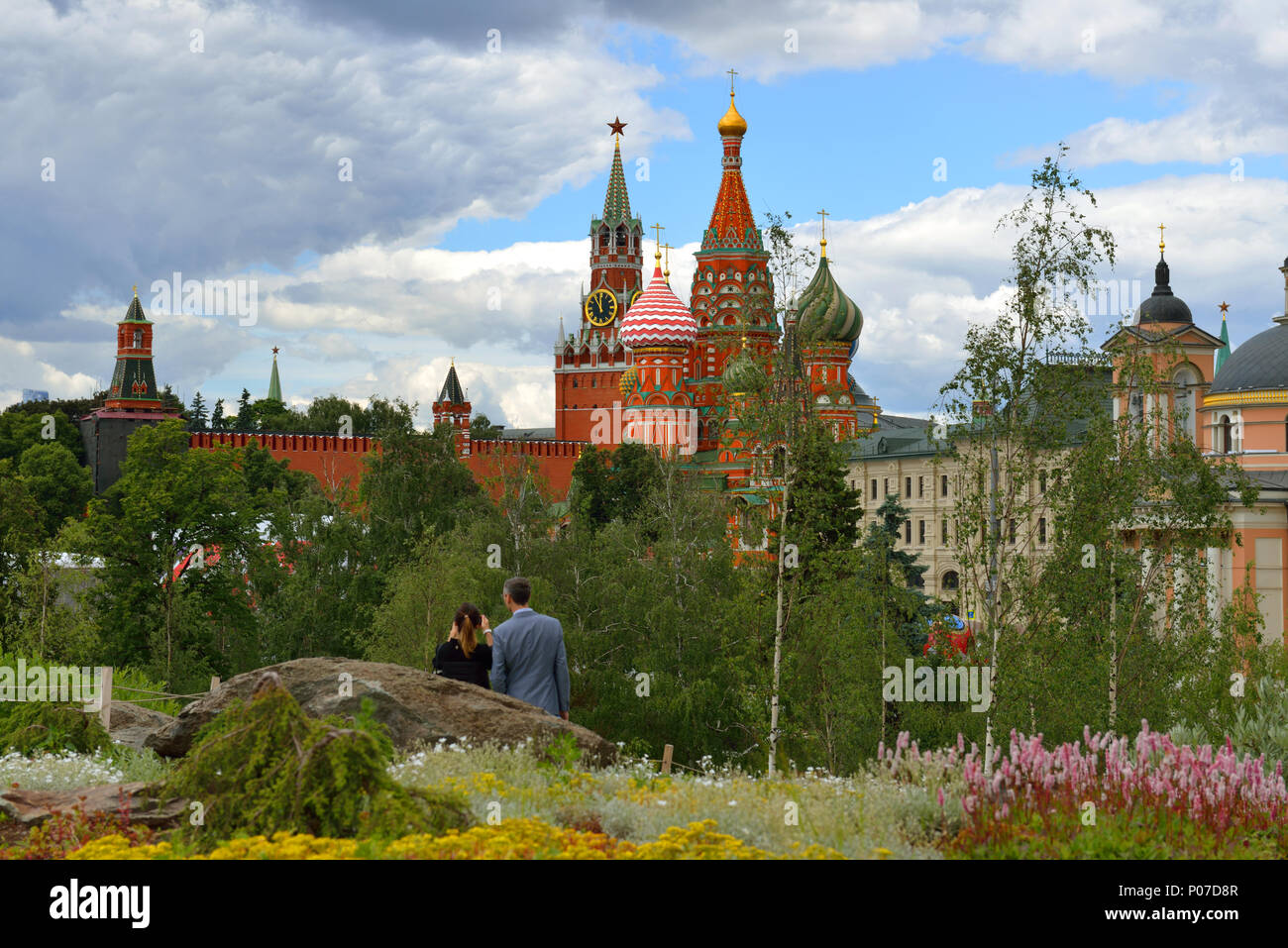 View of Moscow Kremlin from Zaryadye Nature-Landscape Park - Stock Image