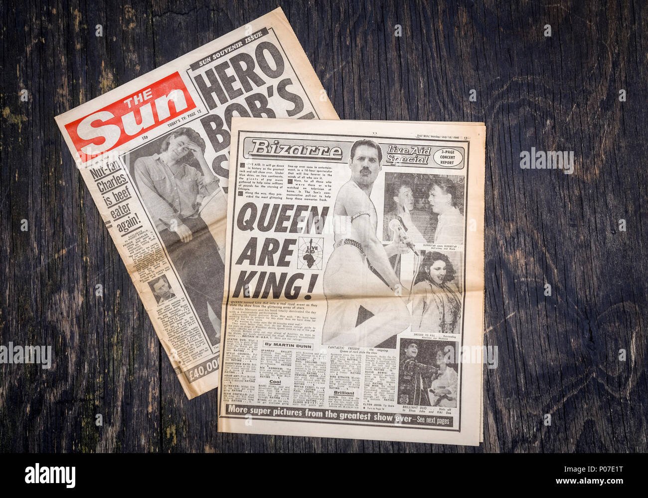 British Newspaper The Sun reporting on the charity live music event, Live Aid held at Wembley Stadium in London, 13th July 1985 by Sir Bob Geldof - Stock Image