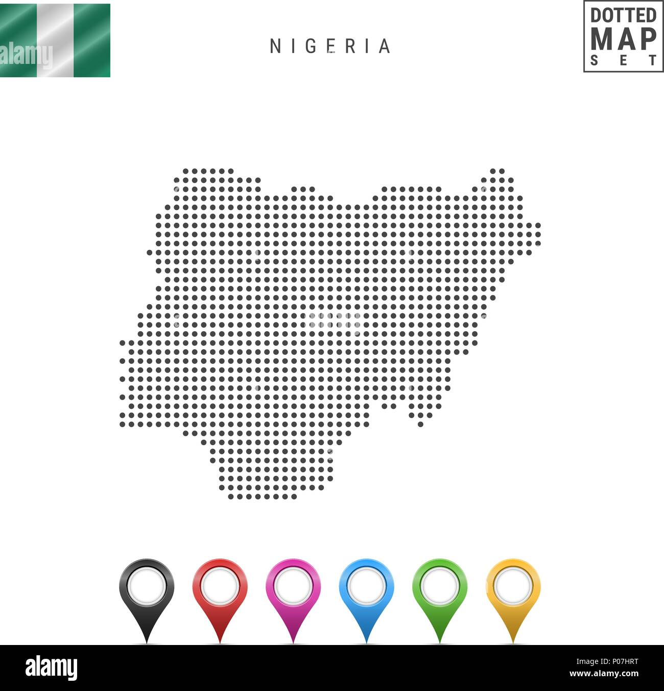 Vector Dotted Map of Nigeria. Simple Silhouette of Nigeria. National Flag of Nigeria. Set of Multicolored Map Markers - Stock Vector