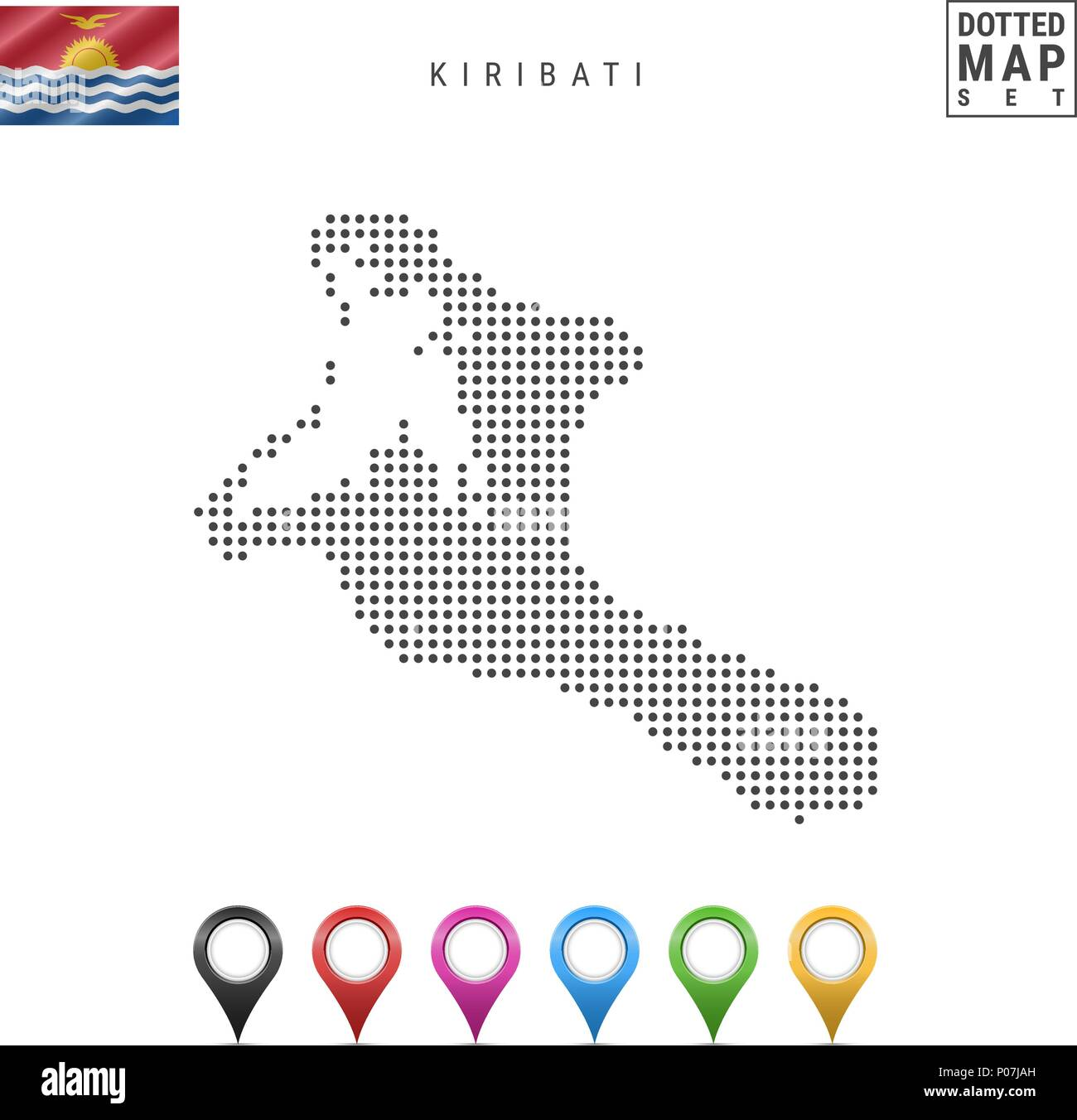 Vector Dotted Map of Kiribati. Simple Silhouette of Kiribati. National Flag of Kiribati. Set of Multicolored Map Markers - Stock Image