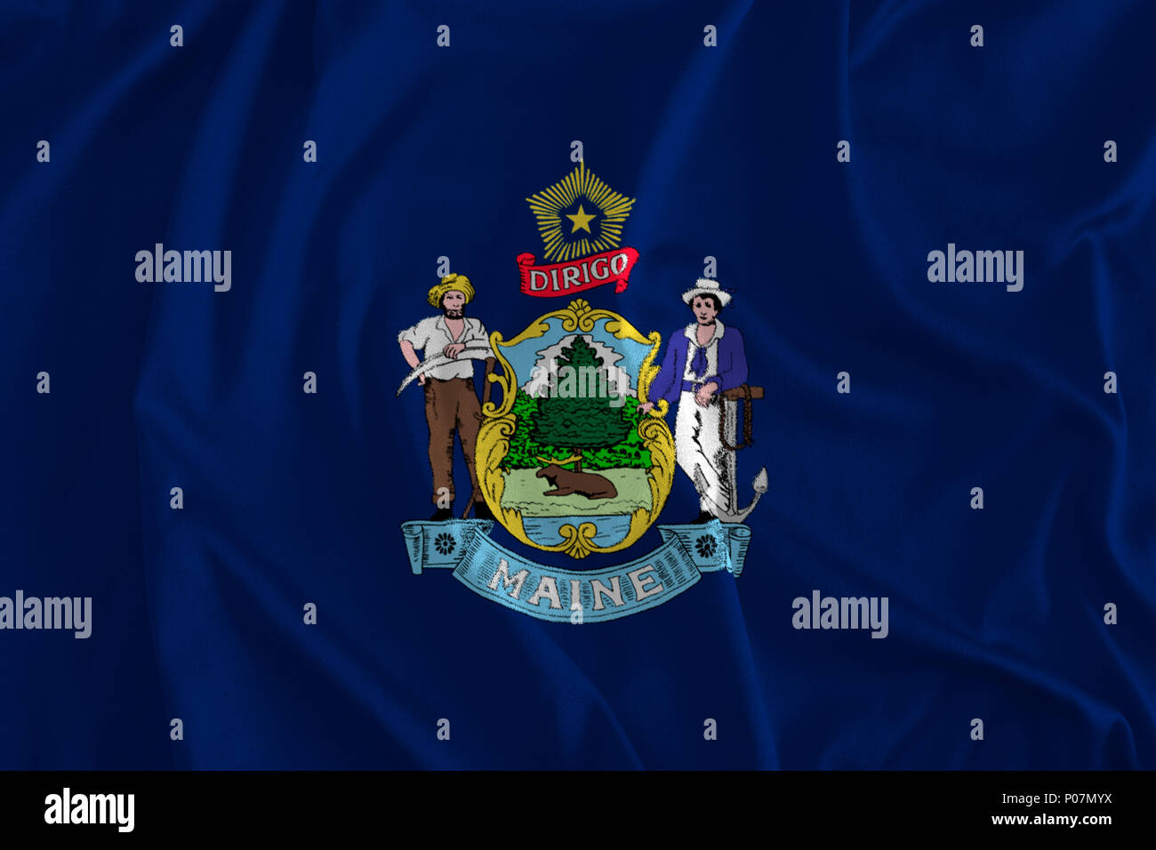 Flag of Maine Background, The Pine Tree State, Vacationland - Stock Image